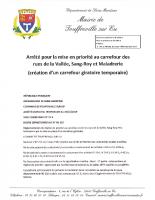 Arrêté pour la mise en priorité au carrefour des rues de la Vallée, Sang-Roy et la Maladrerie (création d'un carrefour giratoire temporaire)
