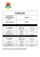 TARIFS MOBIL HOME 2021