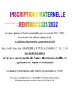 Inscriptions rentrée 2021 2022